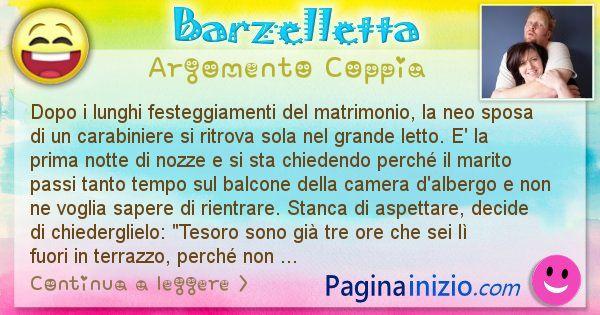 Barzelletta argomento Coppia: Dopo i lunghi festeggiamenti del matrimonio, la neo sposa ... (id=2418)