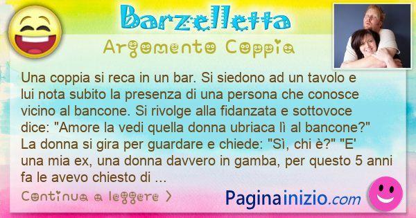 Barzelletta argomento Coppia: Una coppia si reca in un bar. Si siedono ad un tavolo e ... (id=3104)