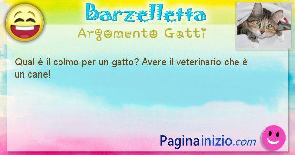 Barzelletta argomento Gatti: Qual è il colmo per un gatto? Avere il veterinario che è ... (id=1044)