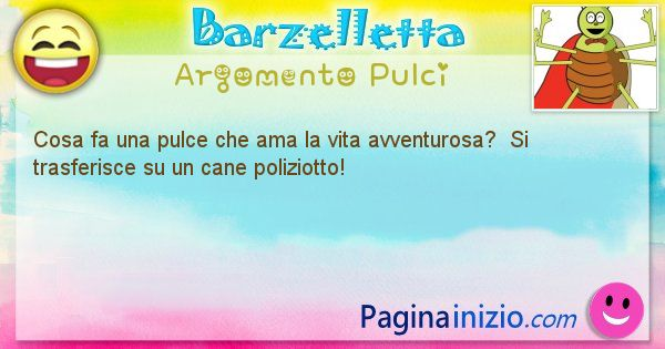 Barzelletta argomento Pulci: Cosa fa una pulce che ama la vita avventurosa?  Si ... (id=2030)