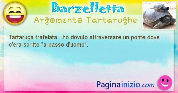 Barzelletta argomento Tartarughe: Tartaruga trafelata : ho dovuto attraversare un ponte ... (id=2072)