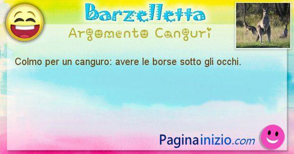 Barzelletta argomento Canguri: Colmo per un canguro: avere le borse sotto gli occhi. (id=2076)