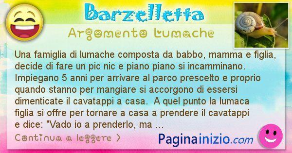 Barzelletta argomento Lumache: Una famiglia di lumache composta da babbo, mamma e ... (id=2231)