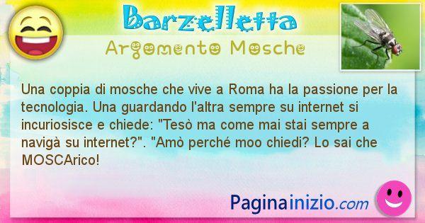 Barzelletta argomento Mosche: Una coppia di mosche che vive a Roma ha la passione per ... (id=2659)