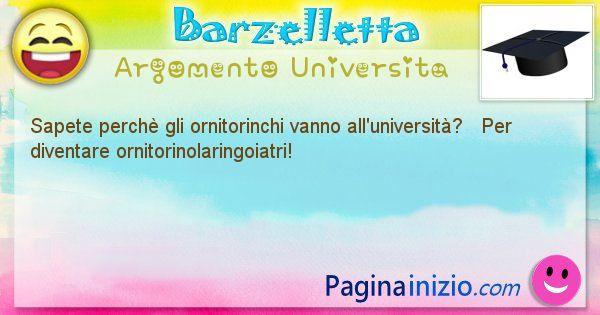 Barzelletta argomento Universita: Sapete perchè gli ornitorinchi vanno all'università? ... (id=668)