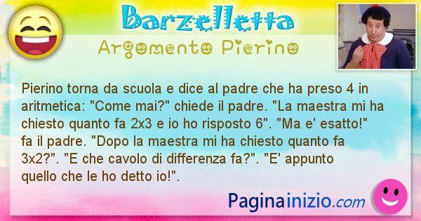 Barzelletta argomento Pierino: Pierino torna da scuola e dice al padre che ha preso 4 in ... (id=947)