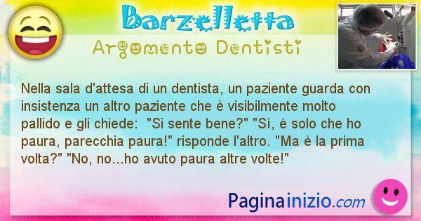 Barzelletta argomento Dentisti: Nella sala d'attesa di un dentista, un paziente guarda ... (id=2434)