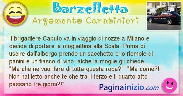 Barzelletta argomento Carabinieri: Il brigadiere Caputo va in viaggio di nozze a Milano e ... (id=1793)