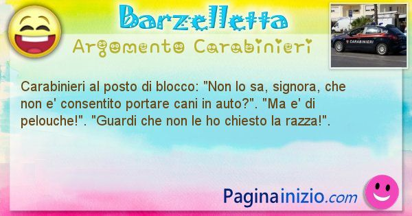 Barzelletta argomento Carabinieri: Carabinieri al posto di blocco: Non lo sa, signora, che ... (id=1841)