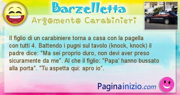 Barzelletta argomento Carabinieri: Il figlio di un carabiniere torna a casa con la pagella ... (id=1872)