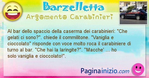 Barzelletta argomento Carabinieri: Al bar dello spaccio della caserma dei carabinieri: Che ... (id=1942)