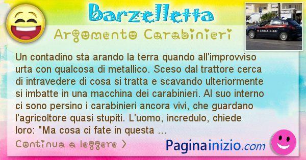 Barzelletta argomento Carabinieri: Un contadino sta arando la terra quando all'improvviso ... (id=2650)