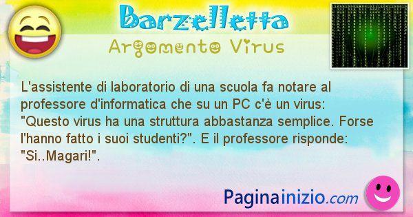 Barzelletta argomento Virus: L'assistente di laboratorio di una scuola fa notare al ... (id=1175)