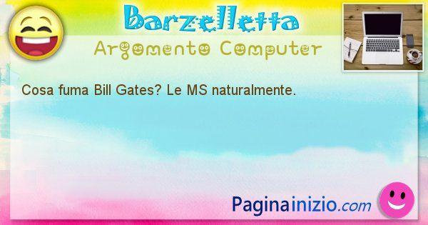Barzelletta argomento Computer: Cosa fuma Bill Gates? Le MS naturalmente. (id=1188)