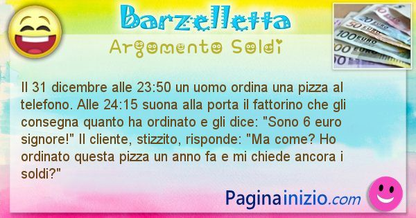 Barzelletta argomento Soldi: Il 31 dicembre alle 23:50 un uomo ordina una pizza al ... (id=2253)