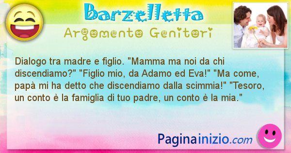 Barzelletta argomento Genitori: Dialogo tra madre e figlio. Mamma ma noi da chi ... (id=2641)