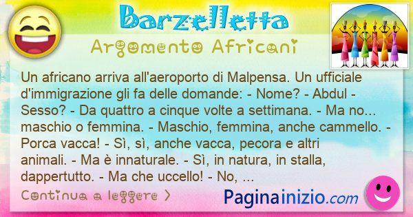 Barzelletta argomento Africani: Un africano arriva all'aeroporto di Malpensa. Un ... (id=3036)