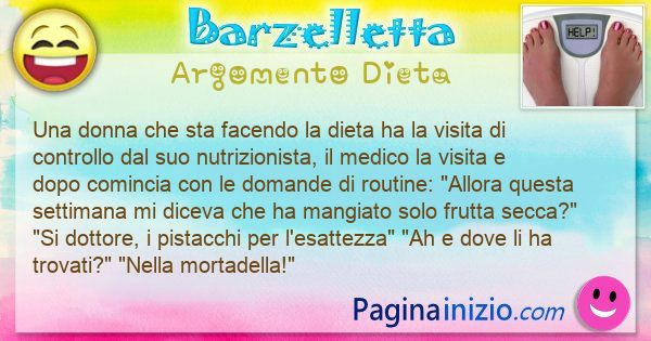 Barzelletta argomento Dieta: Una donna che sta facendo la dieta ha la visita di ... (id=3117)