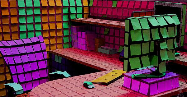 Un ufficio molto colorato
