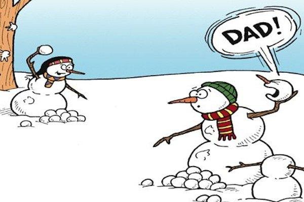 Palle di neve in famiglia