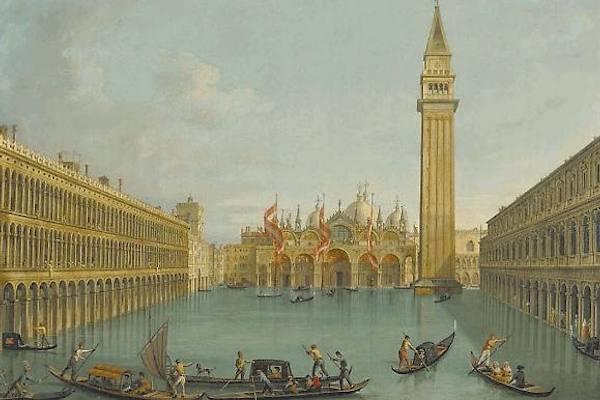 Il quadro di Vincenzo Chilone con l'acqua alta del 1825