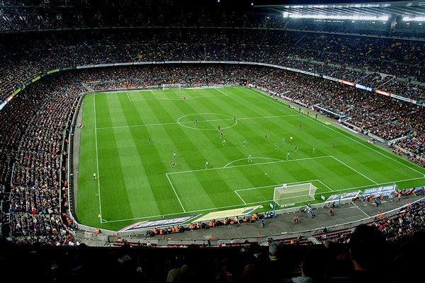 Panoramica del Camp Nou di Barcellona, 105 m x 68 m