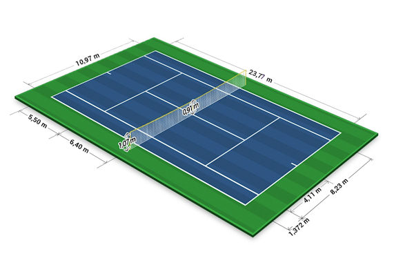 Le misure del campo da tennis sono indicate nel regolamento ufficiale