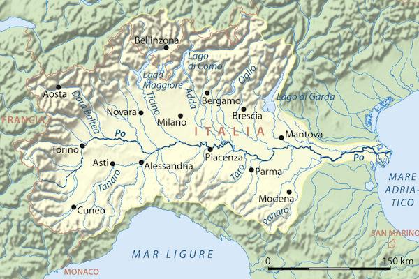 Corso del fiume Po, dalla provincia di Cuneo al mar Adriatico