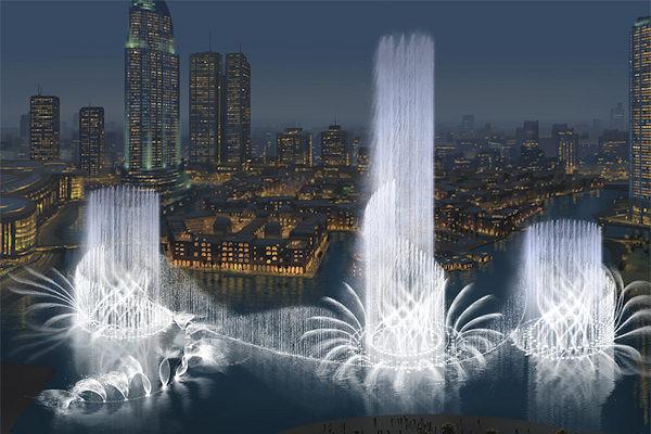 Le fontane in notturna del Burj Khalifa