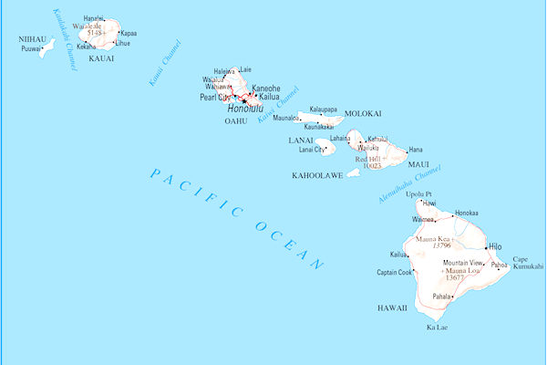 Cartina dell'arcipelago hawaiano