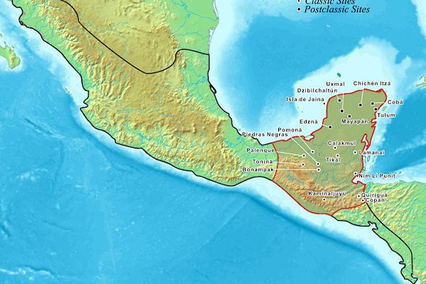 Aree di insediamento dei Maya