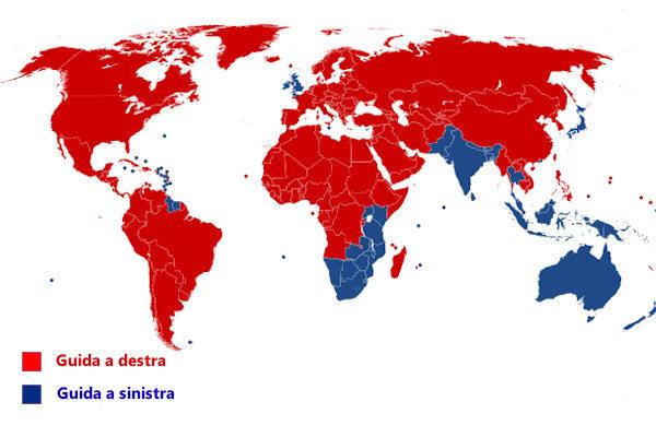 Mappatura dei paesi con guida a sinistra