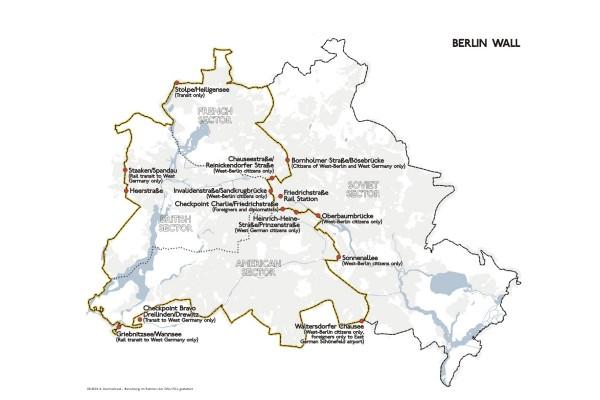Mappa del muro di Berlino con le aree d'occupazione