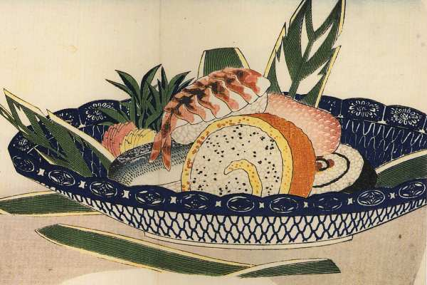 Ciotola di Sushi su dipinto di Hiroshige (XIX sec.)