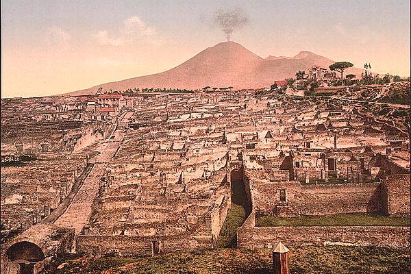 Antica stampa del Vesuvio visto da Pompei