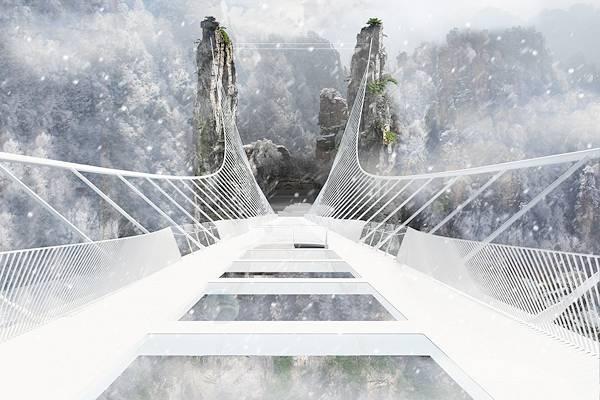 Un particolare del ponte Zhangjiajie in Cina