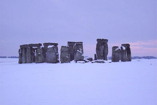 Stonehenge con la neve