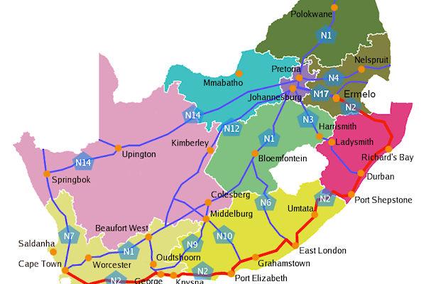 Cartina politica del Sudafrica