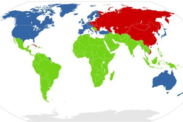 Primo mondo (azzurro), secondo mondo (rosso) e terzo mondo (verde) nel 1975