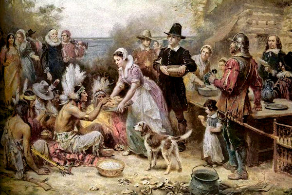 Dipinto di Jean Louis Gerome Ferris che illustra il primo Thanksgiving