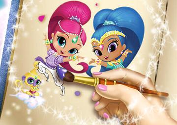 Gioco colora shimmer e shine for Shimmer and shine da colorare