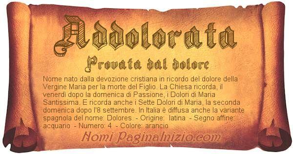 Nome Addolorata