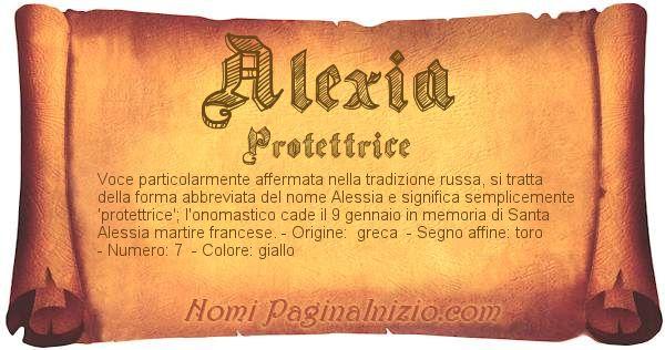 Pergamena col nome https://www.paginainizio.com/nomi/imgnomi/alexia.jpg
