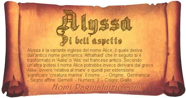 Nome Alyssa