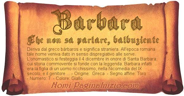 Nome Barbara
