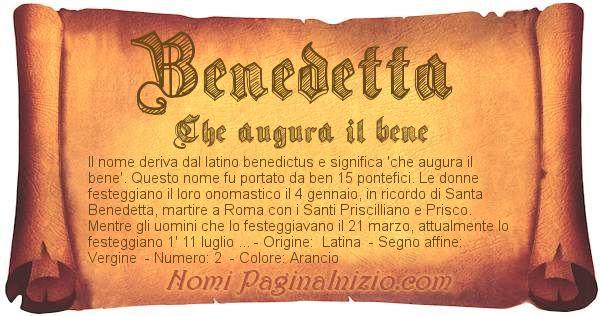 Nome Benedetta