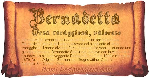 Nome Bernadetta