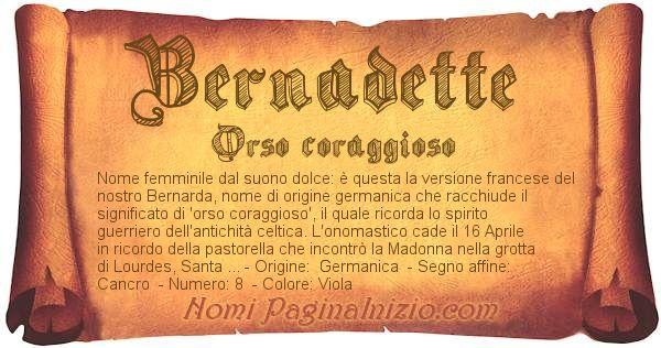 Nome Bernadette