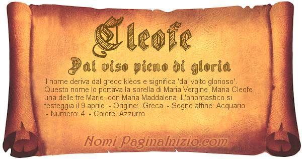 Pergamena col nome https://www.paginainizio.com/nomi/imgnomi/cleofe.jpg