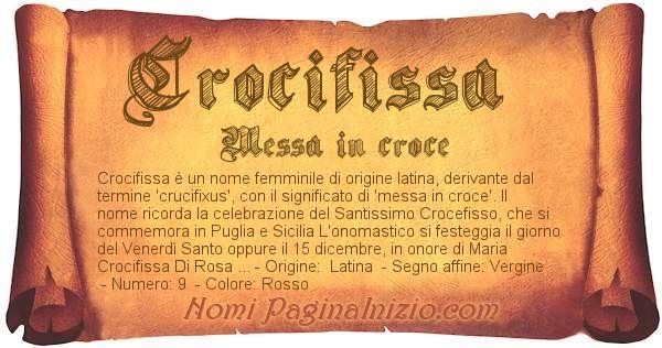 Nome Crocifissa